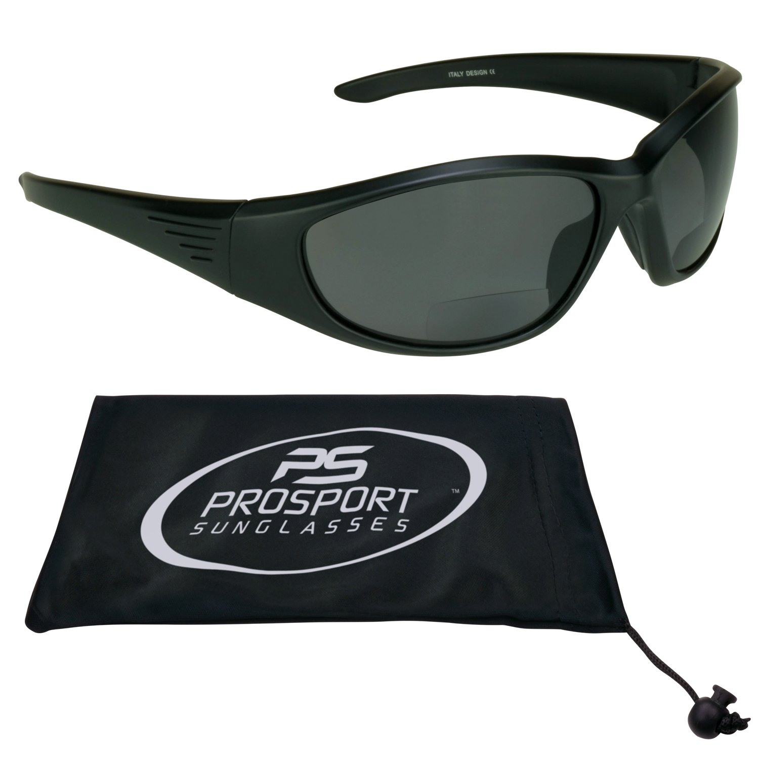 Motorcycle Bifocal Polarized Sunglasses 3.00 with Smoke Polycarbonate Safety Lenses - Free Microfiber Cleaning Case. Overdrive/SMK/3.0