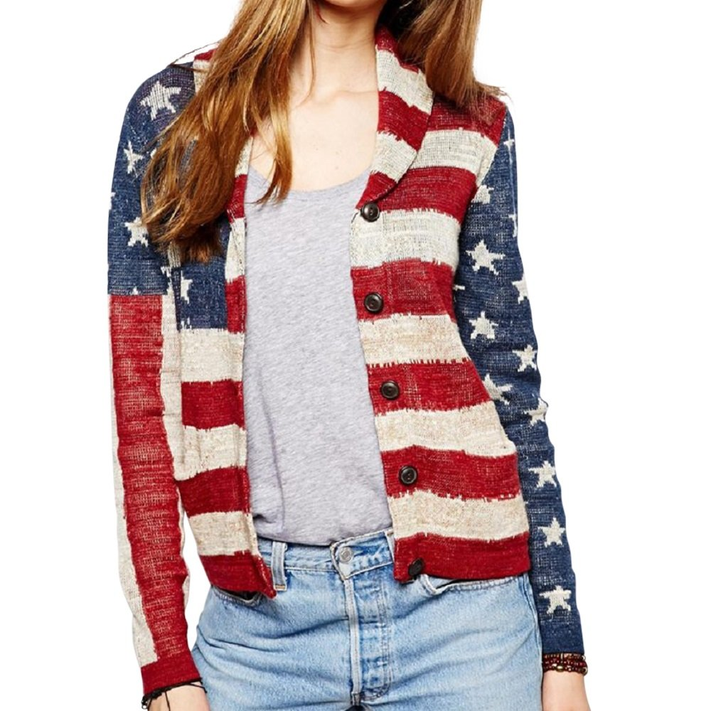 Denim & Supply Ralph Lauren Women's American Flag Print Shawl Cardigan, Small