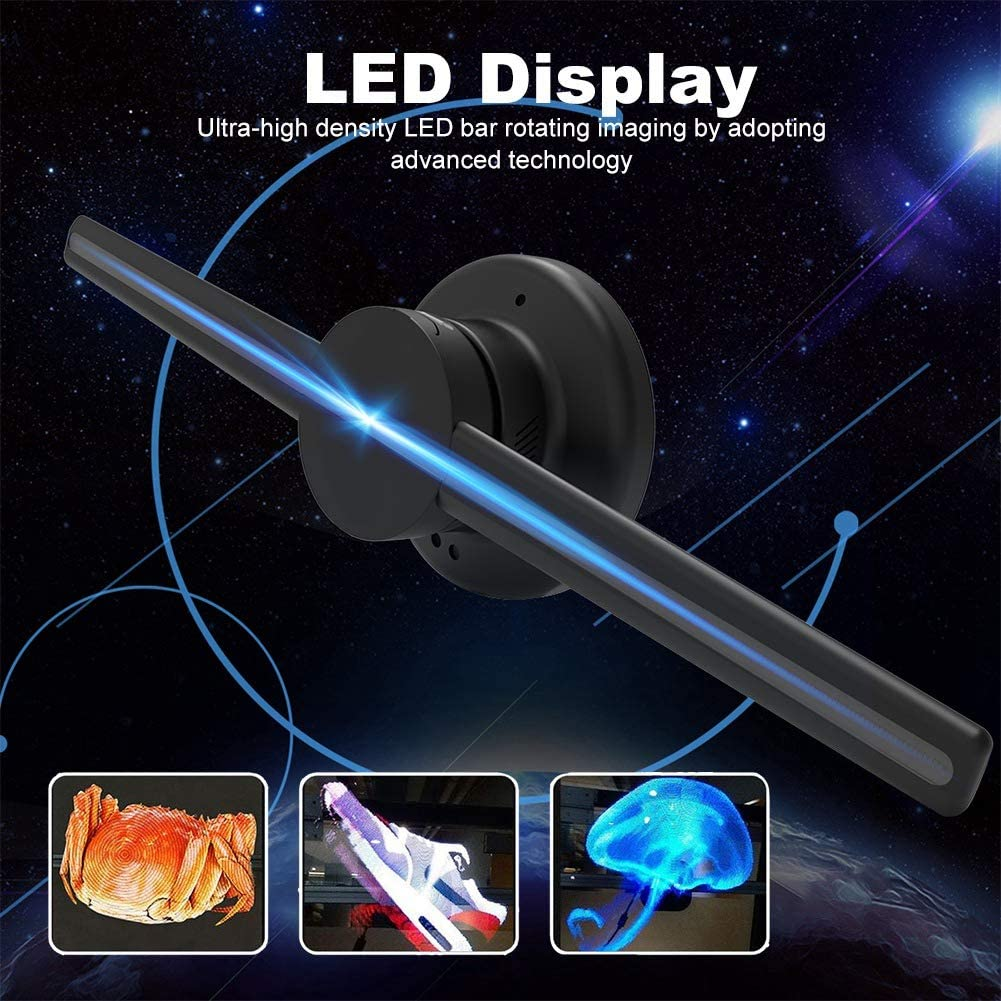 3D Naked Eye LED Fan,Wi-Fi Holographic Air Fan Projector,Black US Plug 3D Holographic Display,640P Hi-Resolution Holographic Video Projector,3D Hologram Advertising Display Fan,Support WiFi//TF Card