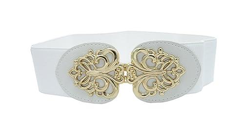 Keleidun - Cinturón - para mujer blanco blanco L(86,36 cm-104 cm)