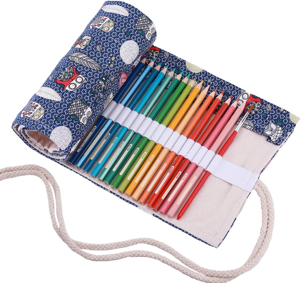 Abaría - Bolsa de lápiz de colores, grande mediana pequeño estuche enrollable 72 lápices, portalápices de lona, organizador para arte, azúl búho: Amazon.es: Hogar