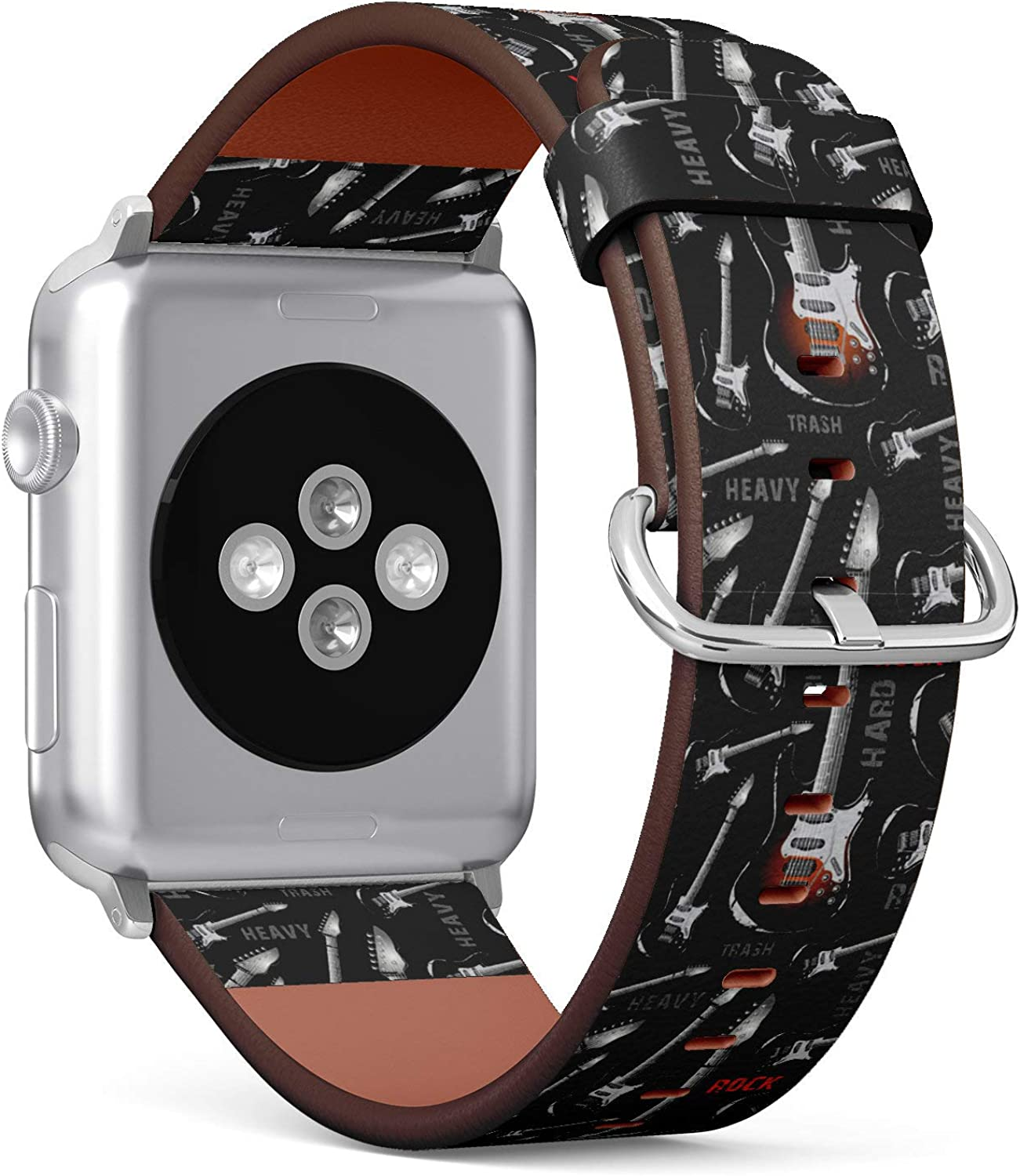 (Rock Guitar Background) Patterned Leather Wristband Strap Compatible with Apple Watch Series 4/3/2/1 gen,Replacement of iWatch 38mm / 40mm Bands