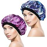 ASHILISIA 2 Pieces Sleep Caps, Night Satin Bonnet with Wide Premium Elastic Band for Women