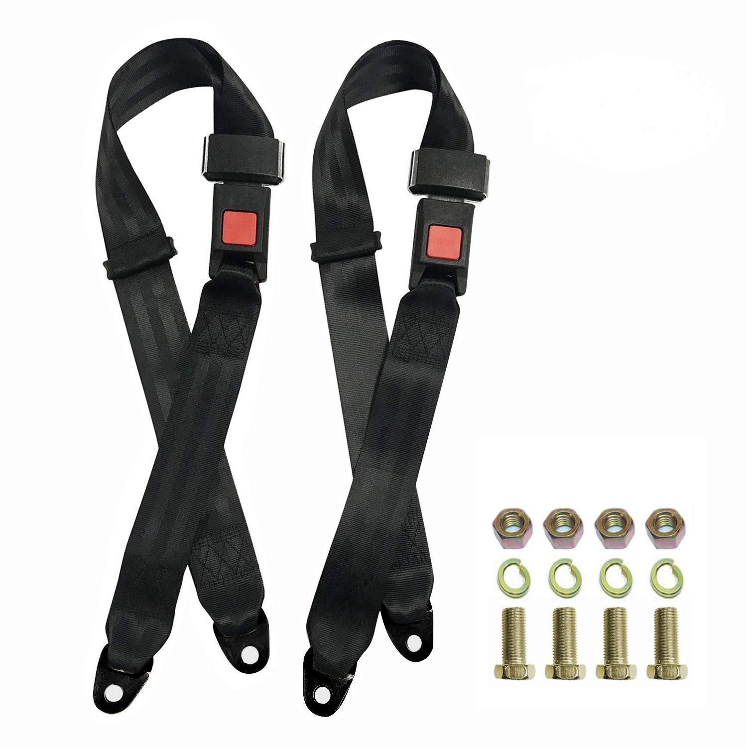 2 Pack Seat Safety Belt, Lap Durable Polyester Fabric Safety Belts Buckle Car Vehicle Truck Seat Belts,Suitable for UTV, Buggies,Club Golf Cart,Go Kart, Van, VR, Truck, Cars and Veh 2 Point Adjustable by Synbenet