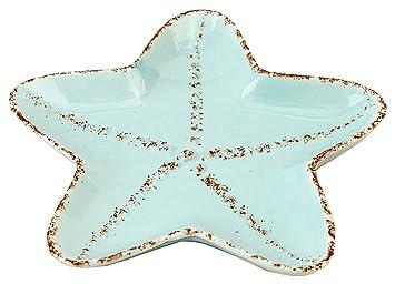 Coastal Shaped Starfish Tidbit Serving Salad Ceramic Plate  sc 1 st  Amazon.com & Amazon.com | Coastal Shaped Starfish Tidbit Serving Salad Ceramic ...