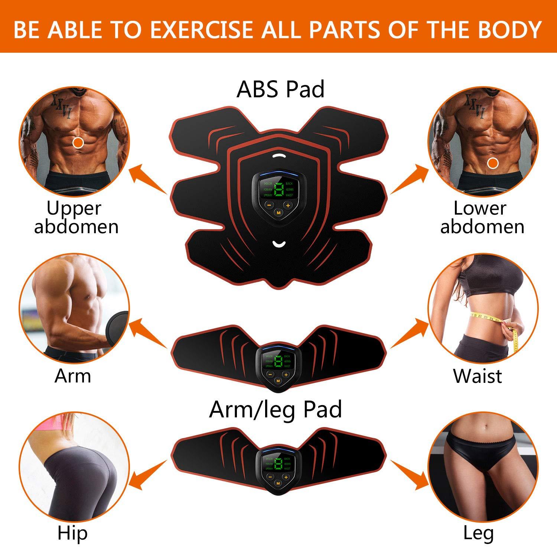 entra/îneur Abs de Tonique Musculaire avec /écran LCD et Coussinets de Gel Rechargeables Rechargeables et 12PCS Toupons Stimulateur Musculaire EMS entra/înement Musculaire