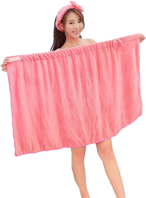 Bowknot Women Bath Towel Bath Robe Bathrobe Body Spa Bath Bow Wrap Towel Headband Set Super Absorbent Bath Gown Ultra Absorbent Microfiber Up Towels Set Soft Cozy Fleece Terry Bathrobe Bath Towel Tub