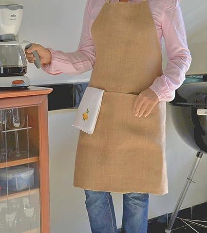 Yute Full delantal para mujer - Chef delantal para Hombre - bolsillo e instrucciones para hacer