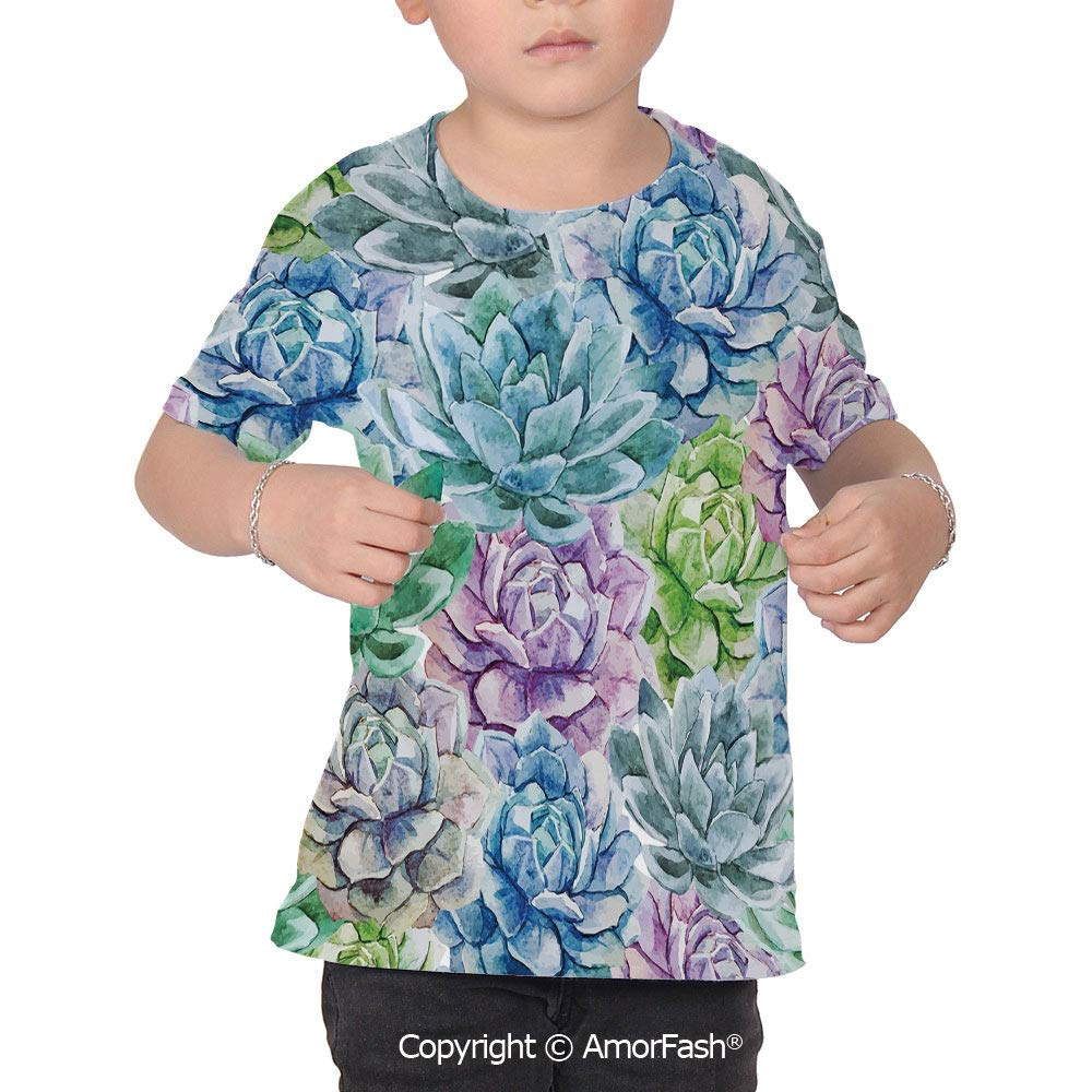 Succulent Over Print T-Shirt,Boy T Shirt,Size XS-2XL Big,Flowers in Watercolor P