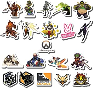 20 PCS Stickers Pack Overwatch Aesthetic Vinyl Colorful Waterproof for Water Bottle Laptop Scrapbooking Luggage Guitar Skateboard
