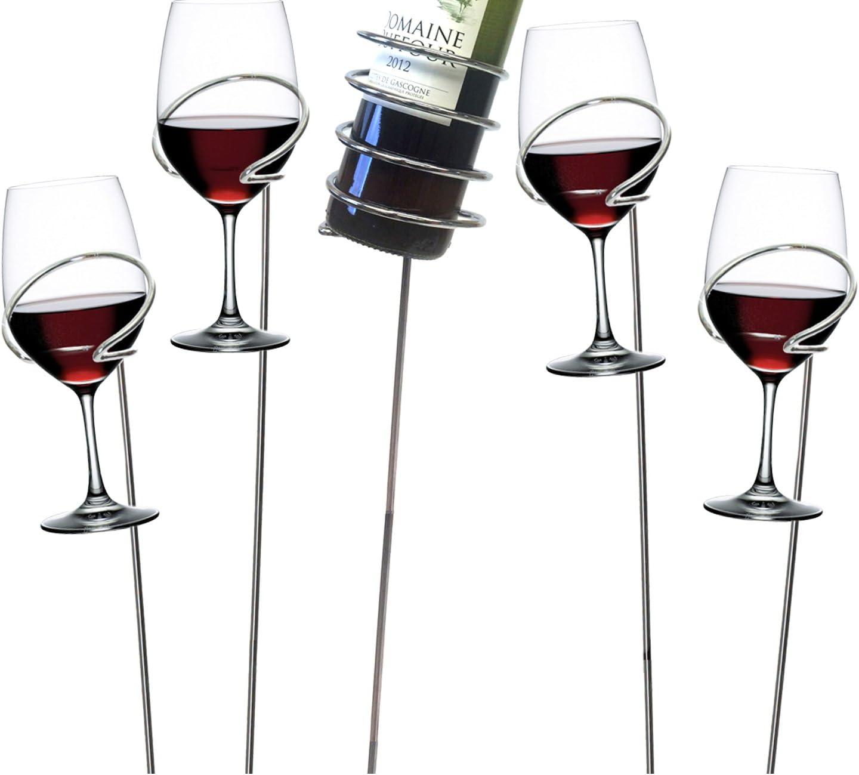 Mind Reader Picnic Wine Sticks, 5 pc Set, Silver Bottle Glass Holder, 5 Count