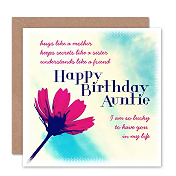 CARD BIRTHDAY HAPPY FUN AUNTIE AUNT LUCKY LIFE FLOWER GIFT CS1834