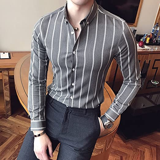 Camisa Formales Hombres Rayas Verticales Manga Larga Slim