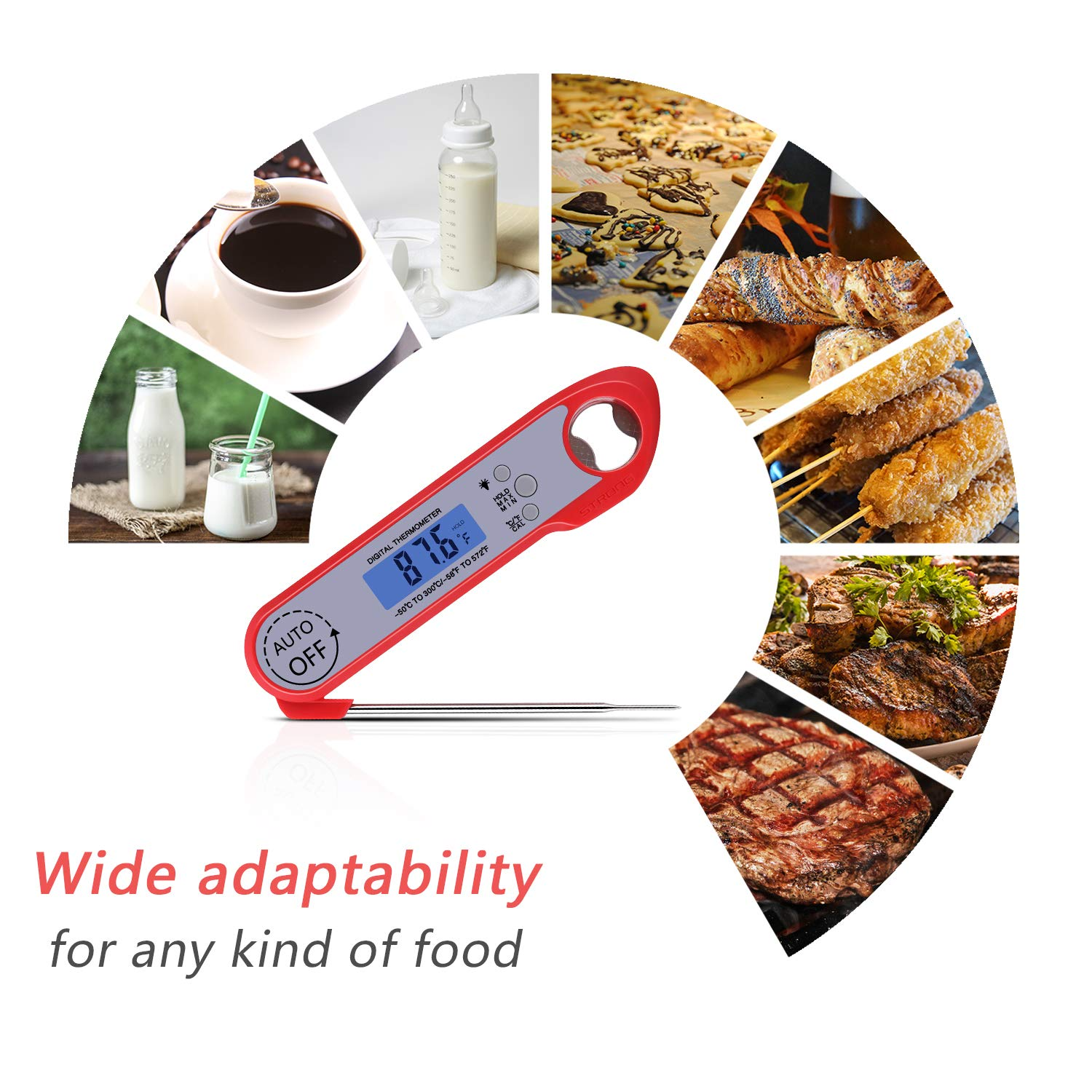 Meat Thermometer, Digital Instant Read Food Thermometer Waterproof with Folding Probe/Backlight/Hold Function and Bottle Opener for Cooking