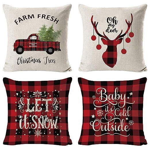 Set de 4 Fundas Navideñas para Cojines, Árbol de Navidad Reno del Copo de Nieve Decoración para el Hogar Fundas de Almohada de Lino Funda de Almohada ...