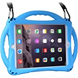 New iPad 2017 9.7'' Case/iPad Air Case, Topesct Shockproof Silicone Handle Stand Case Cover, Tempered Glass Screen Protector, 2017 Version, iPad Air, Blue