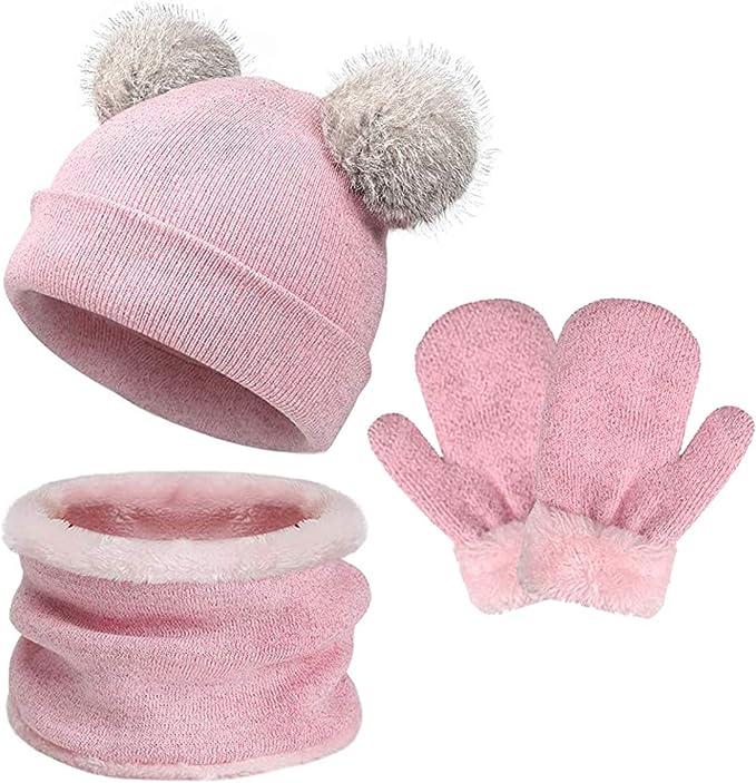 Cartoon Christmas Lanyard Boy Fawn Kid Mitten Knitted Gloves Mitts Kid's Gloves