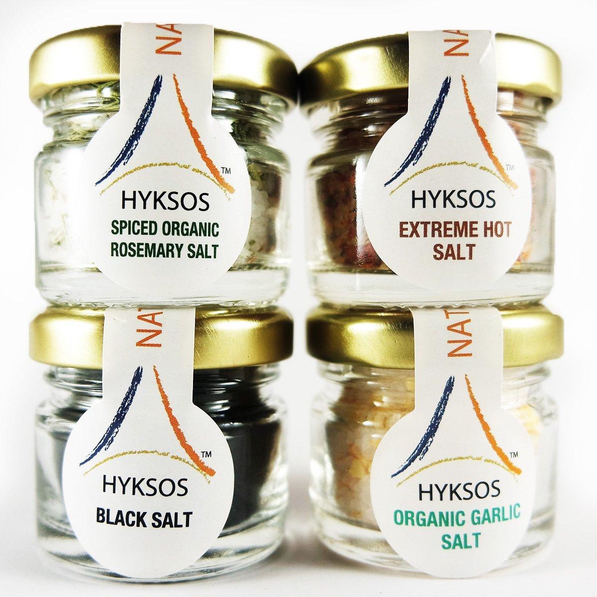Hyksos Dead Sea Edible Flavored Coarse Salt Set – Spiced Organic Rosemary Salt & Wild Fire Salt (Extreme Hot Salt) & Black Salt & Organic Garlic Salt 1.2oz x 4 Jars