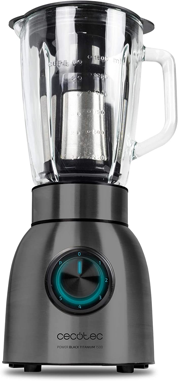 Cecotec Batidora de vaso Power Black Titanium 1500 de 1500 W con Filtro para Licuados, Cuchillas de Titanio negro y Jarra Termorresistente.