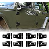 Iparts 8 Pcs Black Door Hinge Cover for 4-Door Jeep Wrangler JK JKU Unlimited Rubicon Sahara X Off Road Sport Exterior Accessories Parts 2007 2008 2009 2010 2011 2012 2013 2014 2015 2016 2017