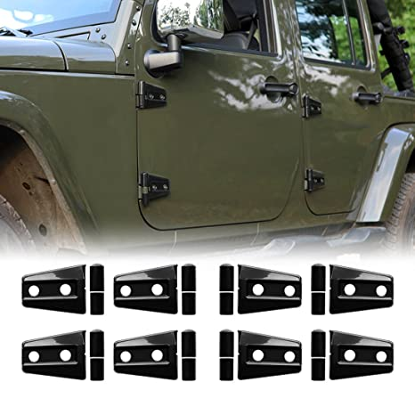 Iparts 8 Pcs Black Door Hinge Cover For 4 Door Jeep Wrangler JK JKU  Unlimited