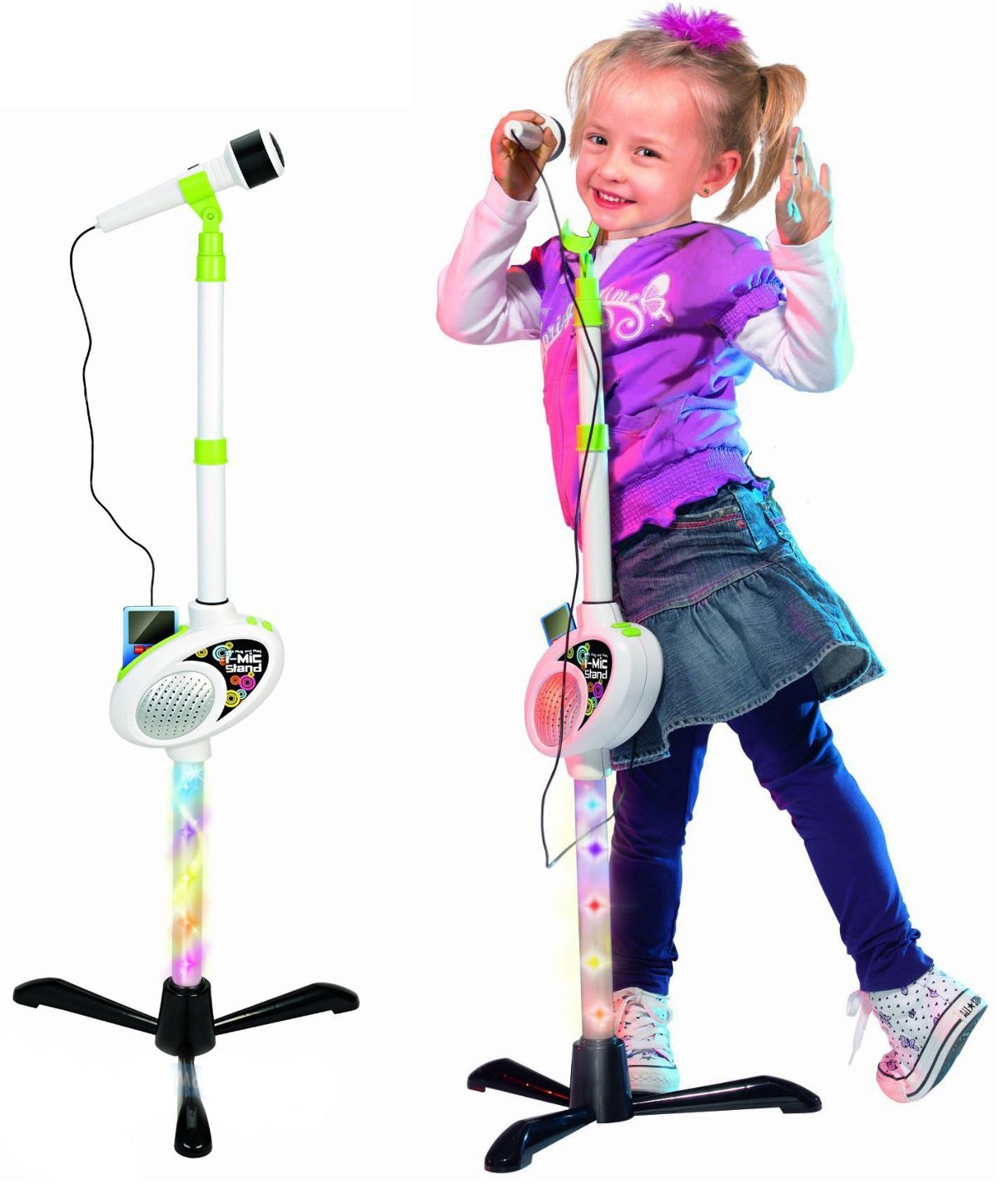 Childrens I-Mic MP3 Plug & Play Toy Microphone Light Up Stand Demo Music Songs MTS