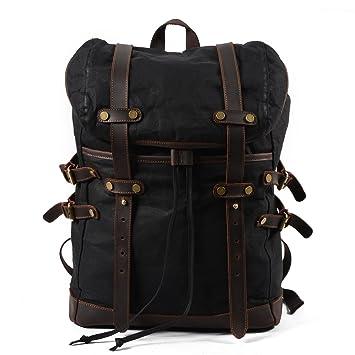Amazon Com Vintage Canvas Leather Laptop Backpack For Men School
