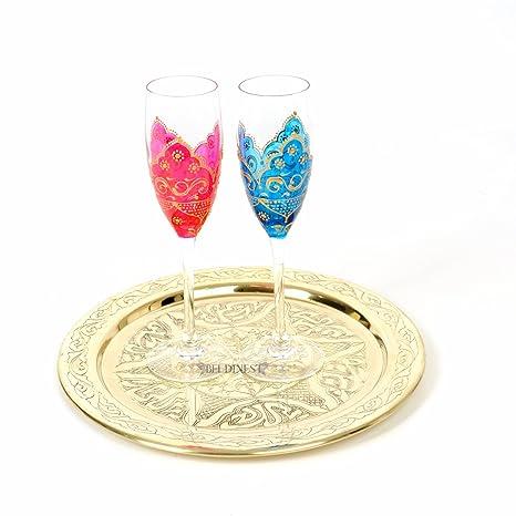 2 Goblets y bandeja pintada a mano boda gafas y 12
