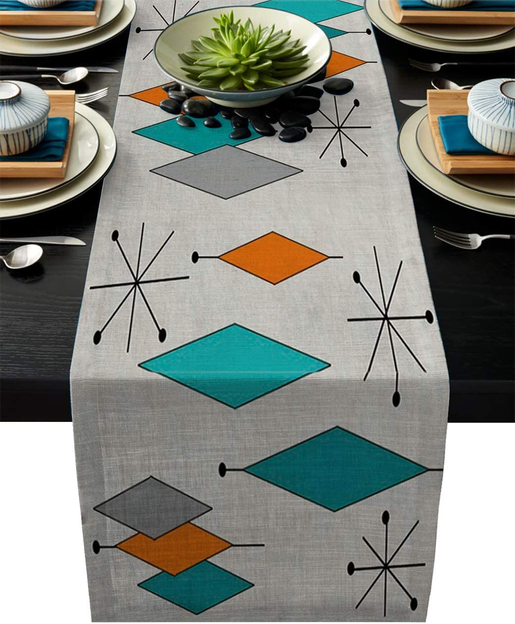 Vandarllin Cotton Linen Table Runner Dresser Scarves Retro Modern Mid Century Geometric Non-Slip Burlap Rectangle Table Setting Decor for Wedding Party Holiday Dinner Home (14X72 Inch)