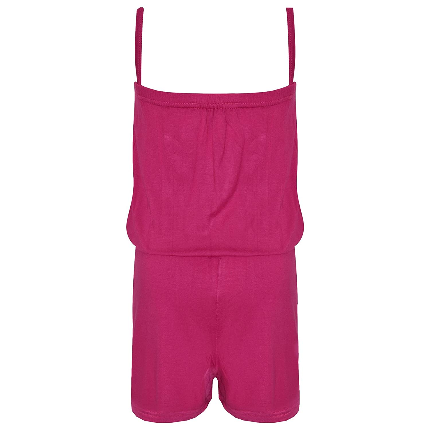 Girls Jumpsuits Kids Plain Color Trendy Playsuit All in One Jumpsuit 5-13 Years