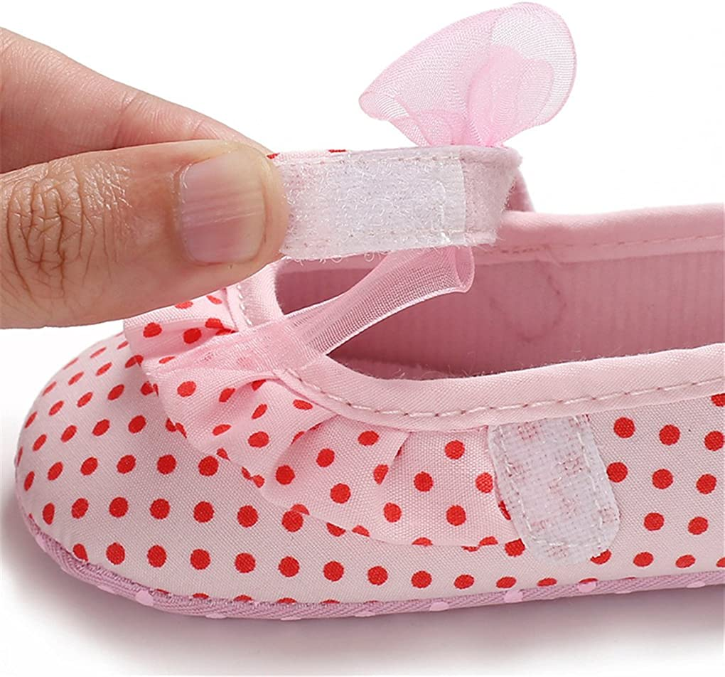 Baby Girls Polka Dot Chiffon Bowknot Princess Dress Shoes Mary Jane Slip-on Crib Shoes
