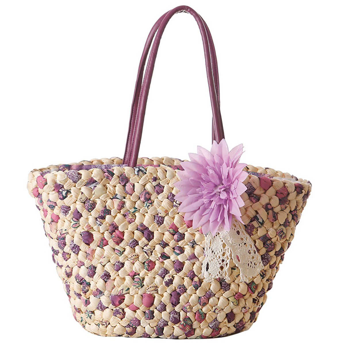 Women Straw Tote, JOSEKO Summer Beach Bag with Inner Pocket Flower Bag Shoulder Bag for Ladies Purple 17.71''/9.44''x 5.91''x 9.84''(LxWxH)