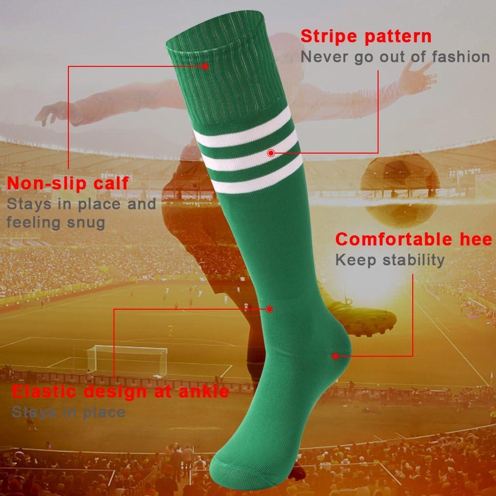 saounisi Unisex Tube Socks Stripe,10 Pairs Knee High Football Soccer Volleyball Baseball Cheerleading Team Socks