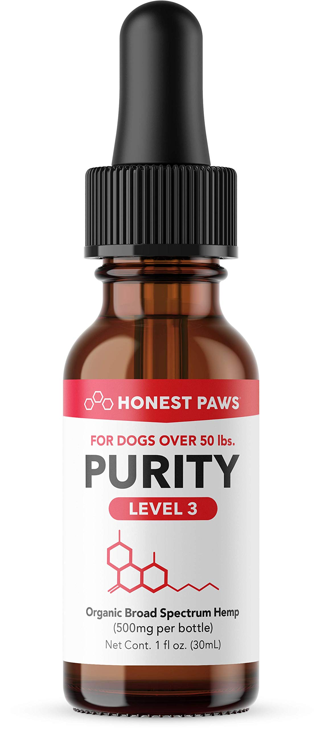 Honest Paws - Purity | Premium Hemp Oil Tincture for Dogs | Alleviates Dog Pain, Allergies, and Anxiety | High Quality All Natural Pure Hemp Oil - 500 mg by Honest Paws