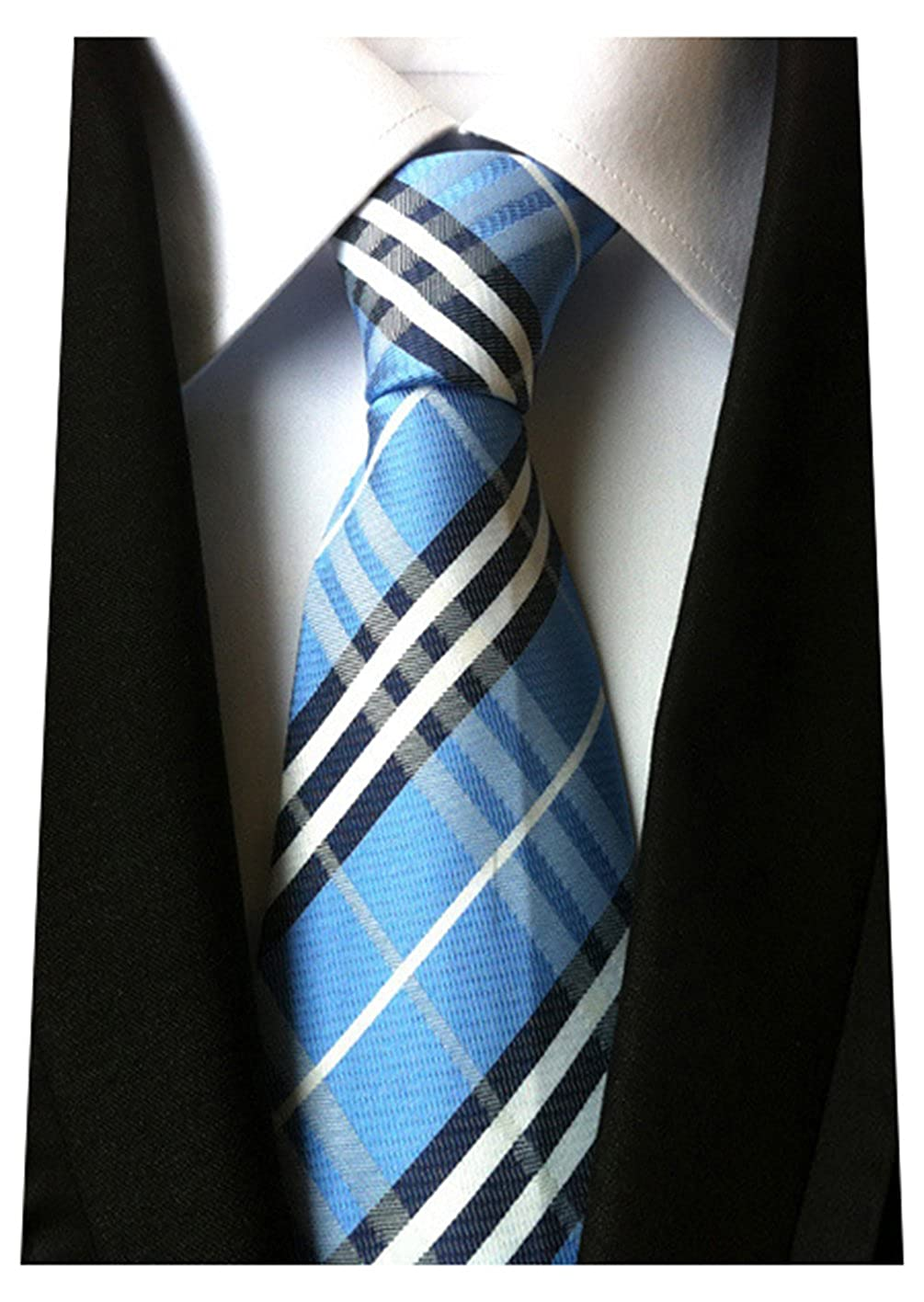 MENDENG New Classic Striped White Black Streak 100% Silk Men'S Tie Necktie Ties NEWEST14562737