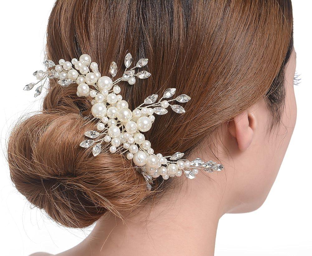 Créme simulatrice Perle Cristal Austrichians Cheveux de Mariée Peigne Pour Mariage Accesoires FAYBOX BRIDAL AZWTS60045