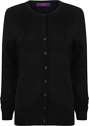 Henbury Womens/Ladies V-Neck Cashmere Touch Button Up Cardigan