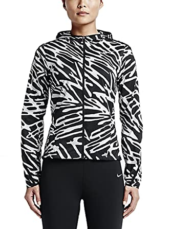 NIKE Womens Palm Impossibly Light Running Jacket, Black White, Small,  803591 010