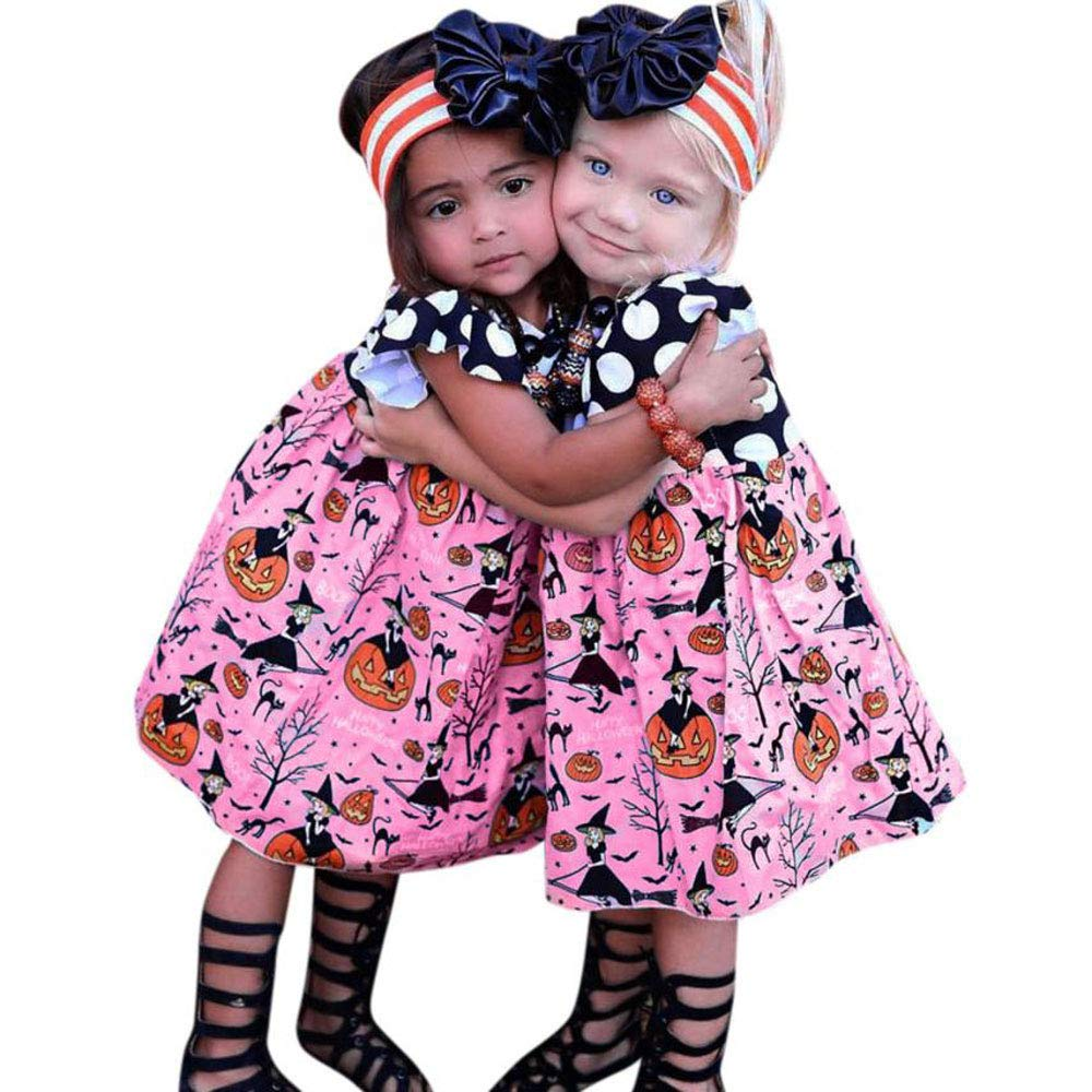 BELS Baby Girls Halloween Pumpkin Dots Printed Cartoon Princess Ruffle Sleeveless Dress (Pink, 2T)