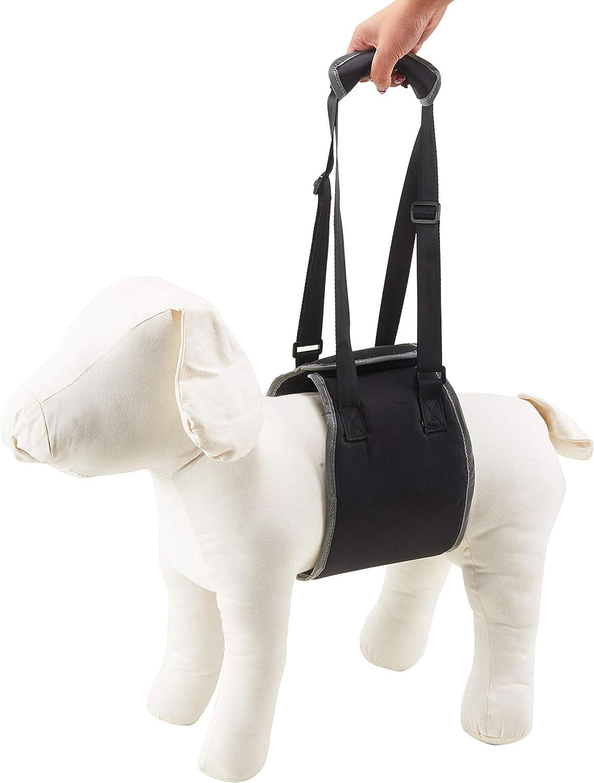 Louvra Dog Support Harness Medium Lightweight Dog Sling Harness with Padded Handle//Adjustable Strap Pet Dogs Lift Harness for Injured and Elderly Pet Rehabilitation-Medium Black