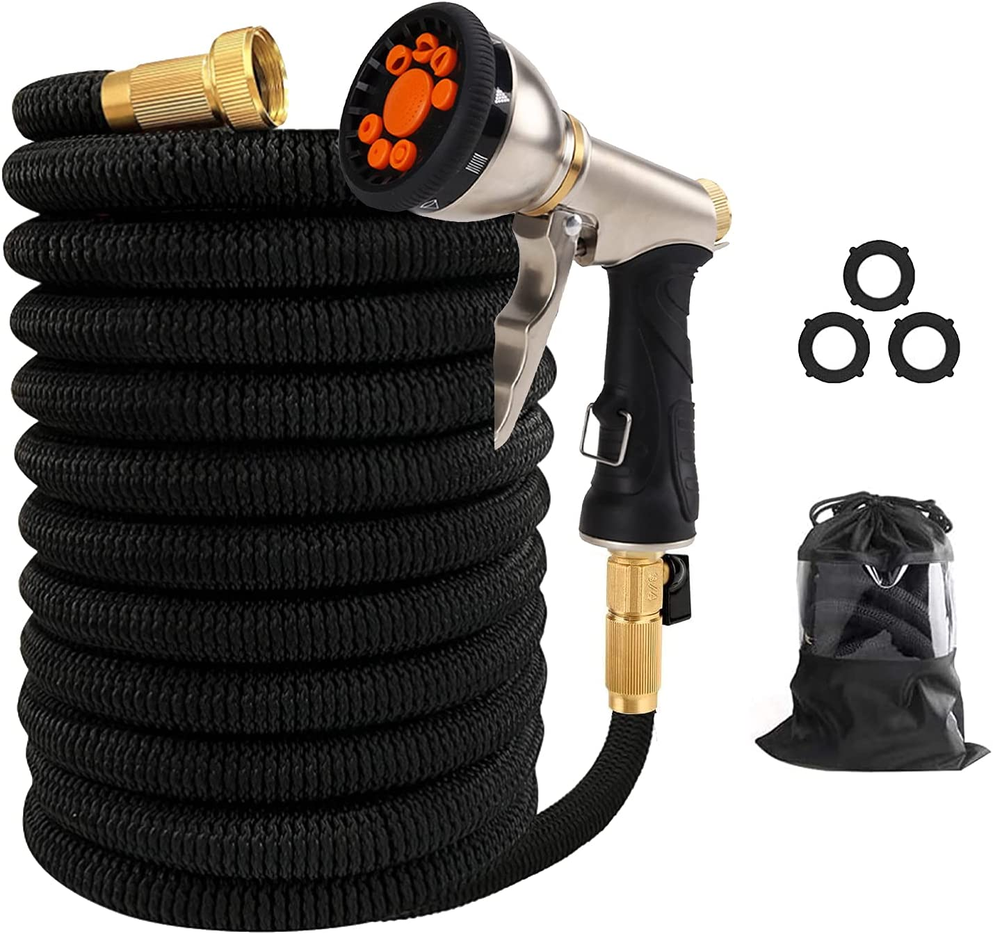 FUMONCHY Expandable Garden Hose 50ft, Lightweight Water Hose with 9 Functions Hose Nozzle, 3750D Durable Expanding Yard Hose for Outdoor Yard Car Wash