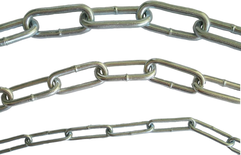 Cadena de acero galvanizado DIN763 – 2 mm, 3,5 mm o 4,5 mm de diámetro de acero – 0,5 m 1 m 3 m 5 m 25 m metro – Cadena de acero – Grosor y longitud a elegir