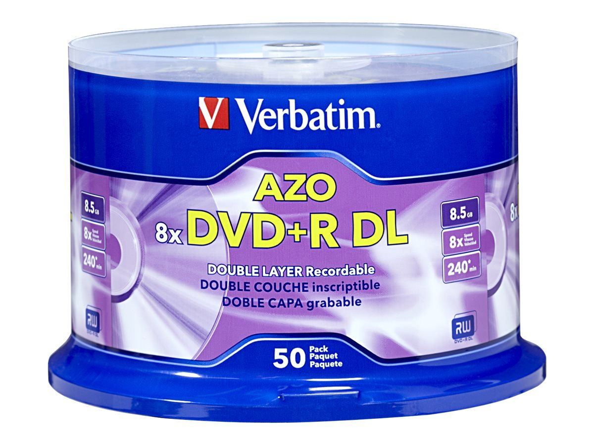 Verbatim DVD+R DL 8.5GB 8X with Branded Surface - 50pk Spindle