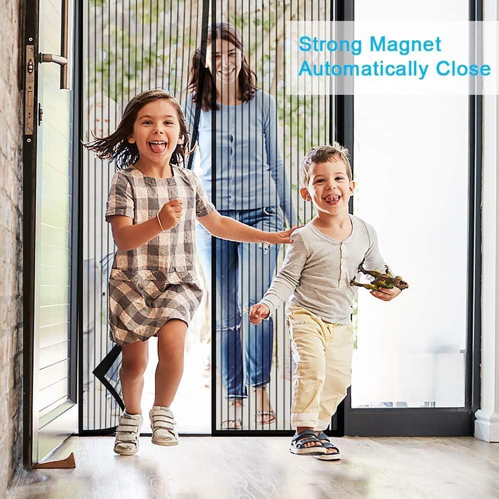 AMZERO Magnet Fliegengitter T/ür Brown 70x190cm Insektenschutz Magnet Fliegengitter T/ür Insektenschutz Easy Install f/ür Balkont/ür Terrassent/ür Wohnzimmer