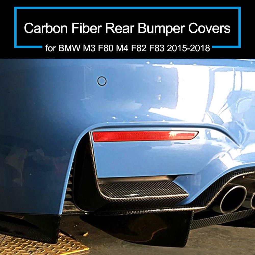 1 Paar KKmoon Carbon Fiber Hecksto/ßstange Abdeckungen f/ür BMW M3 F80 M4 F82 F83 2015-2018