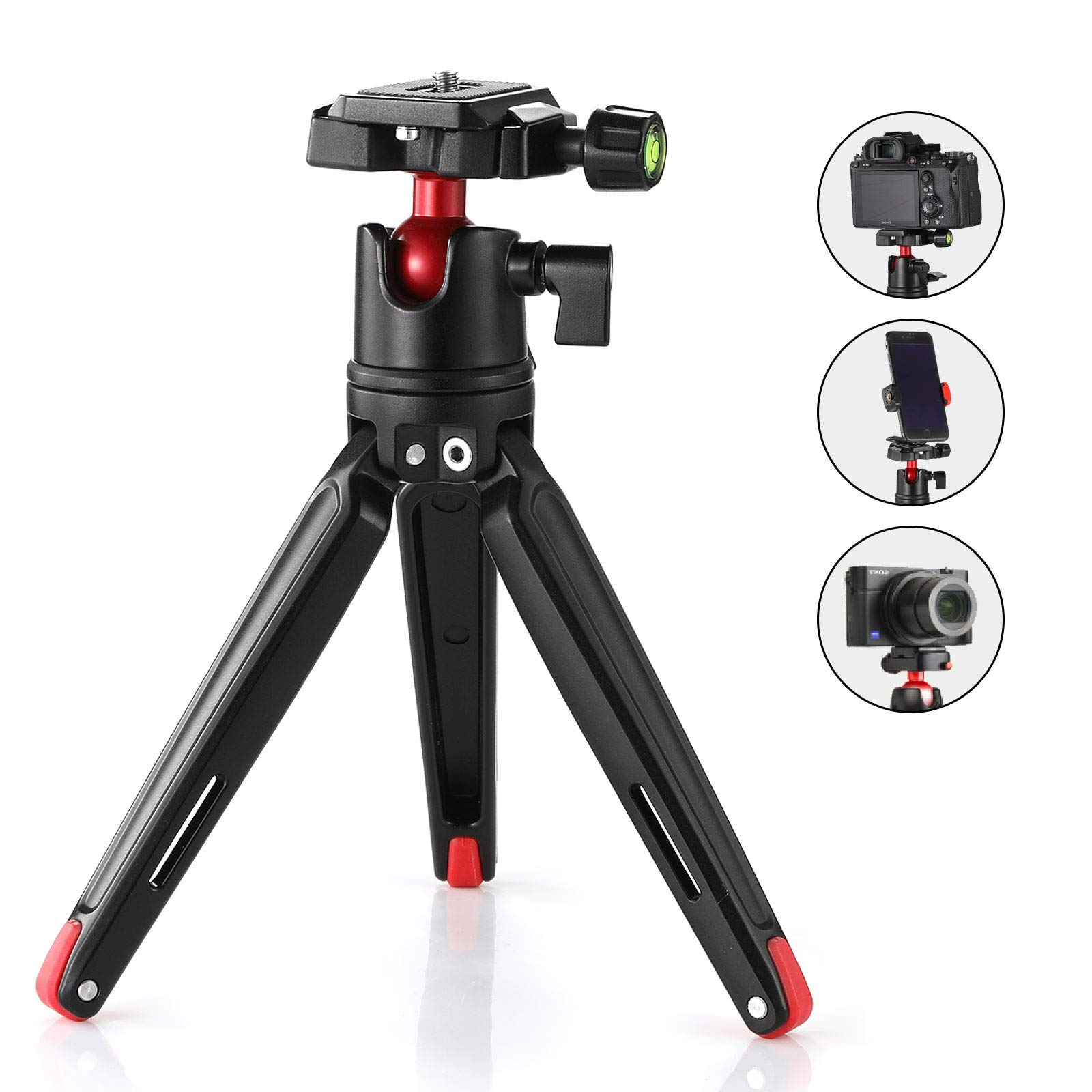 SMALLRIG Tabletop Tripod, Mini Desktop Travel Tripod Aluminum Alloy with 360 Degree Ball Head and Quick Release Plate Lightweight and Portable for Compact Cameras DSLRs, Phone, Gopro(Black)- 2287 by SMALLRIG