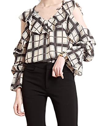 72d2a3f46e857 Tootless-Women V-Neck Flare Sleeve Cut Out Shoulder Plaid Sling Chiffon Tee  Shirts