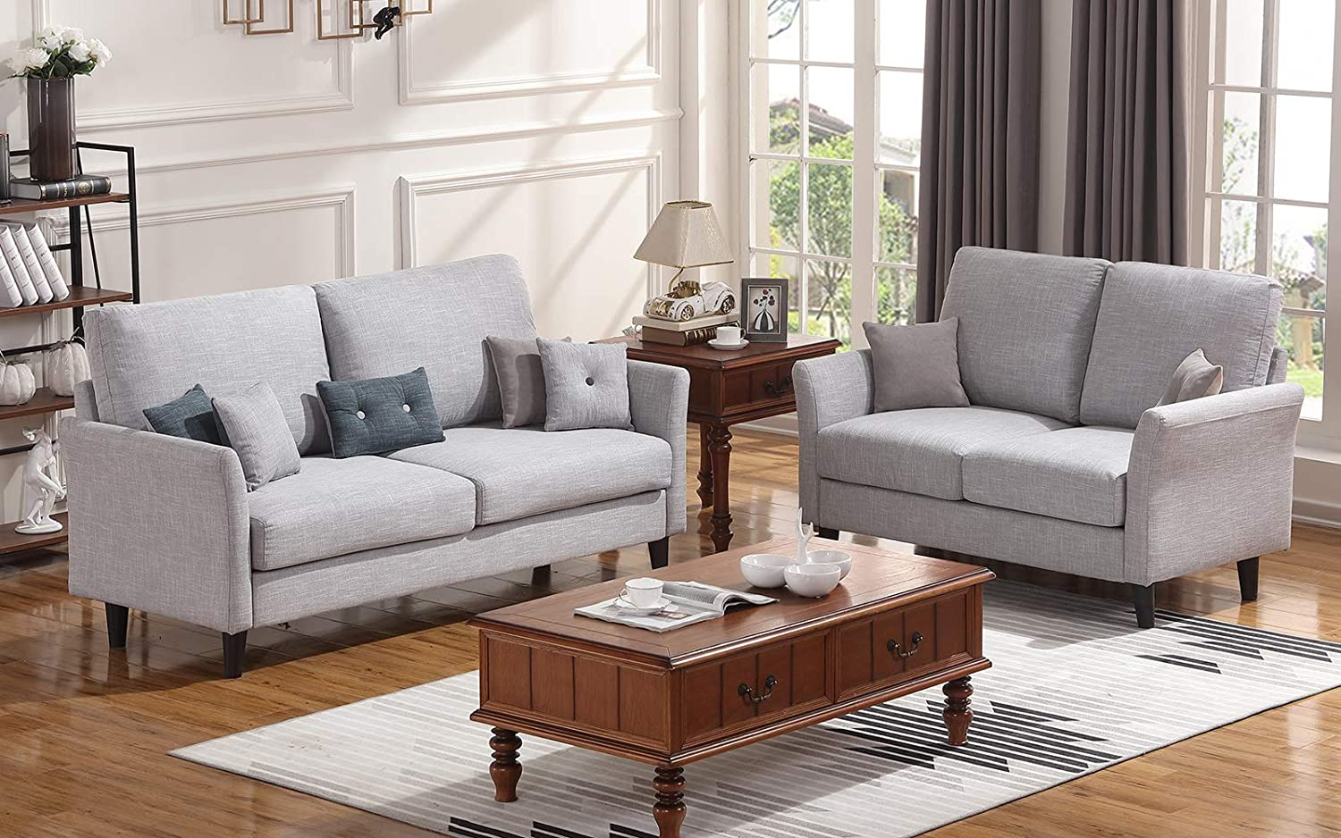 Amazon.com: Honbay Loveseat and Sofa Set for Living Room ...