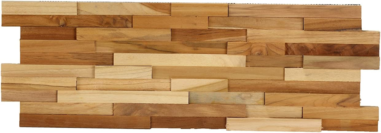 Bare Decor BARE-WT3050SAMPLE EZ-Wall 3D Mosaic Tile in Solid Teak Wood, Brown