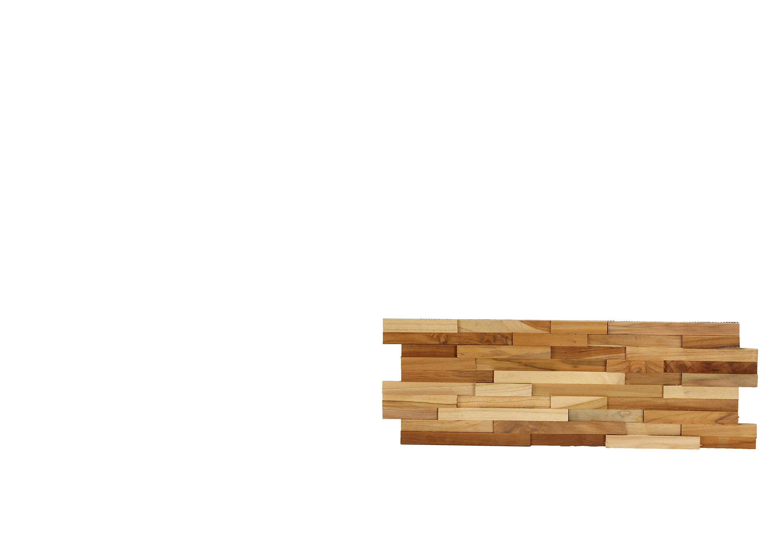 Bare Decor EZ-Wall 3D Mosaic Tile in Solid Teak Wood, Set of 10 Natural Finish Tiles by Bare Decor